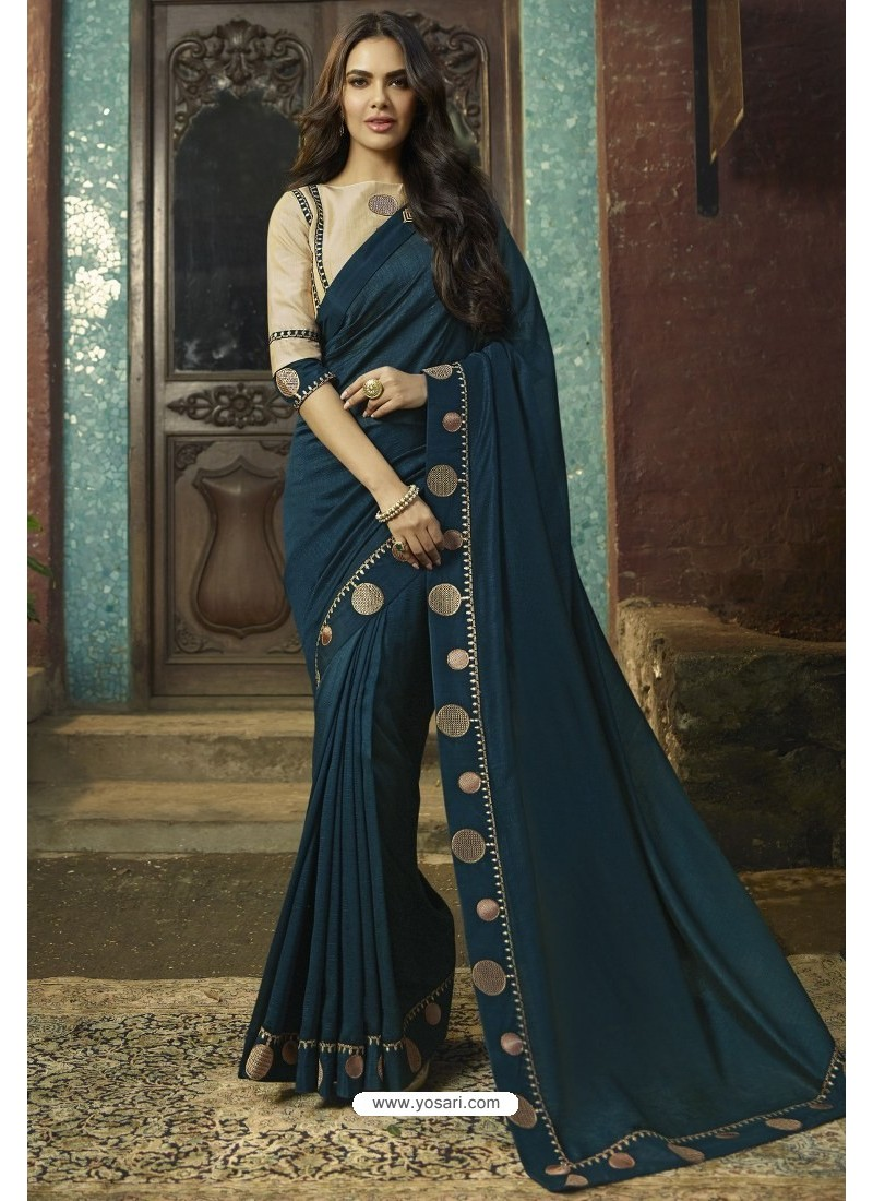 Teal Blue Georgette Silk Designer Saree