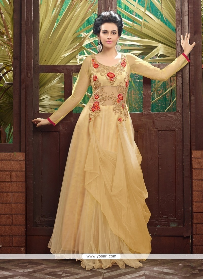 Charming Beige Soft Net Designer Gown