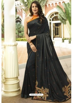 Elegant Black Georgette Silk Designer Saree