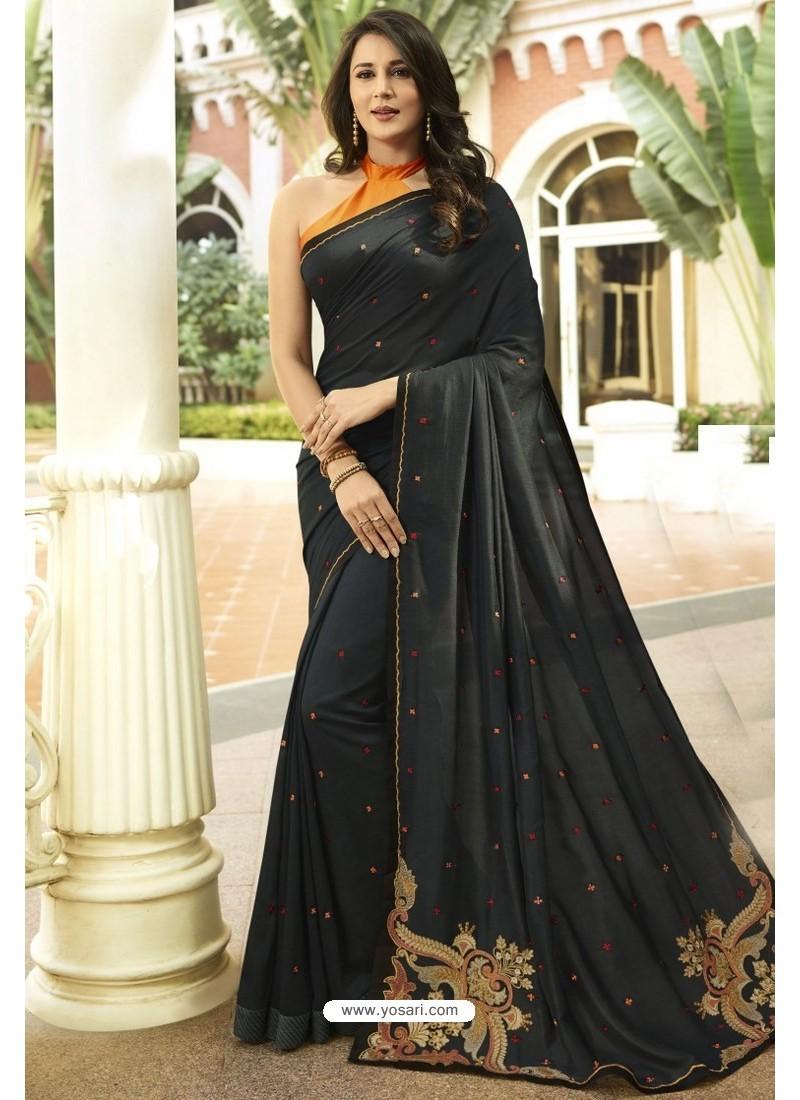 Elegant Black Georgette Silk Designer Saree