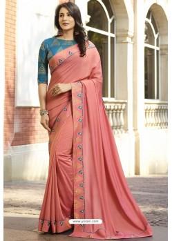 Peach Georgette Silk Designer Saree