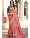 Peach Georgette Silk Designer Saree