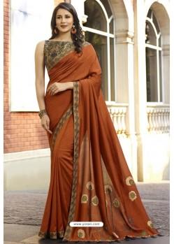 Rust Georgette Silk Designer Saree