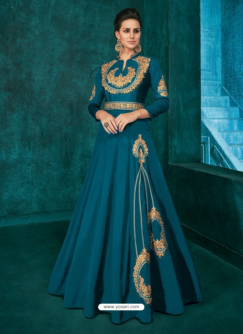 Teal Blue Triva Silk Stylish Embroidered Gown