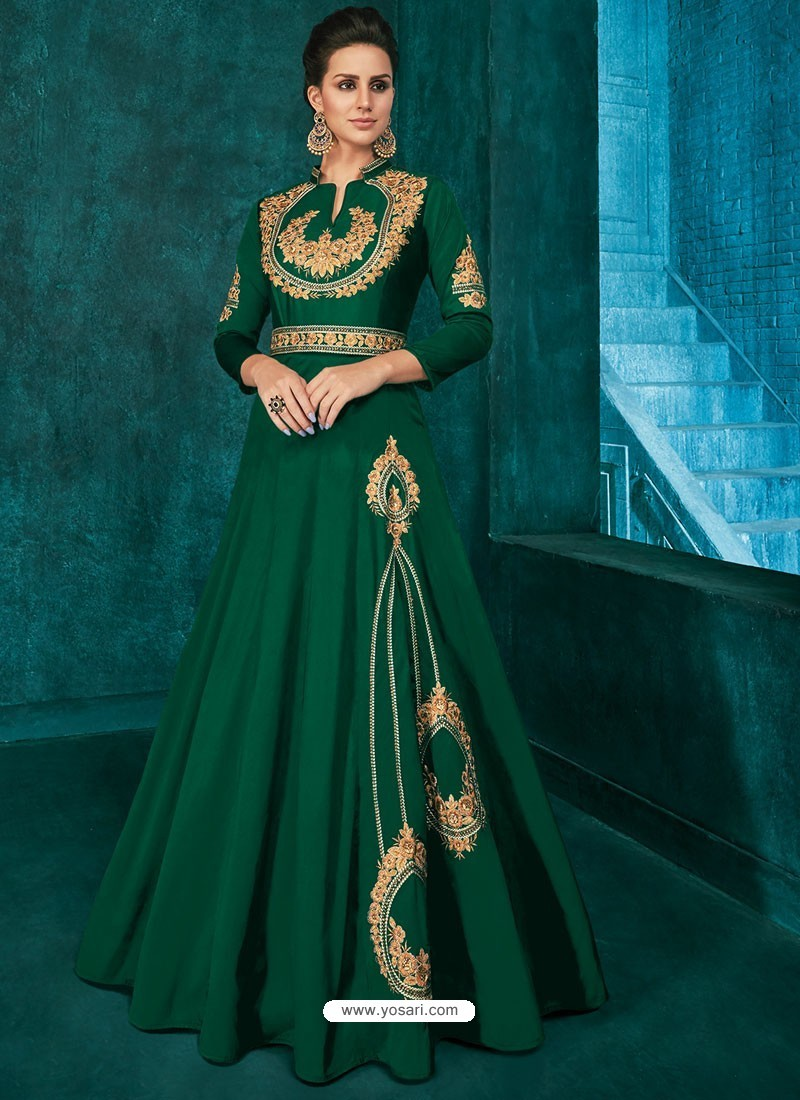 Dark Green Triva Silk Stylish Embroidered Gown