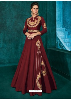Maroon Triva Silk Stylish Embroidered Gown