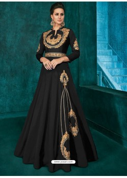 Black Triva Silk Stylish Embroidered Gown