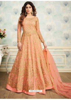 Light Orange Heavy Butterfly Net Embroidered Anarkali Suit
