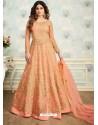 Light Orange Heavy Butterfly Net Embroidered Anarkali Suit