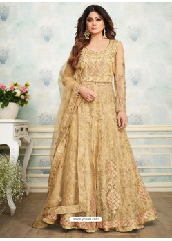 Beige Heavy Butterfly Net Embroidered Anarkali Suit