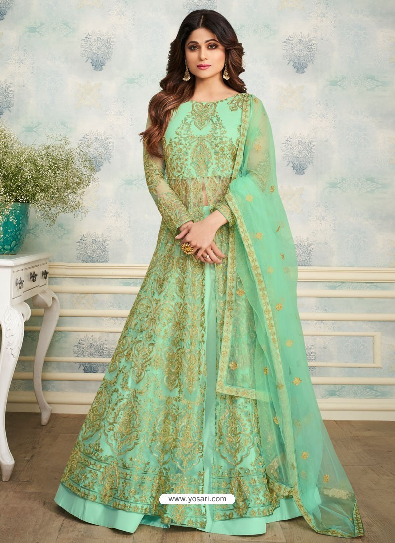 Sea Green Heavy Butterfly Net Embroidered Anarkali Suit