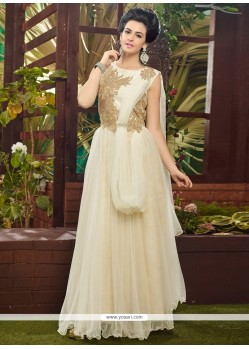 Lovely Off White Soft Net Designer Gown