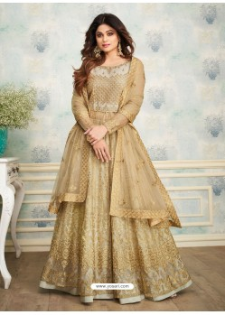 Grey And Gold Heavy Butterfly Net Embroidered Anarkali Suit