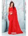 Red Net Resham Embroidery Designer Saree