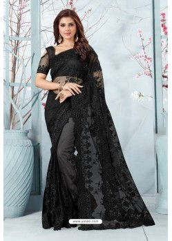 Black Net Resham Embroidery Designer Saree