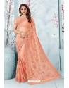 Peach Net Resham Embroidery Designer Saree