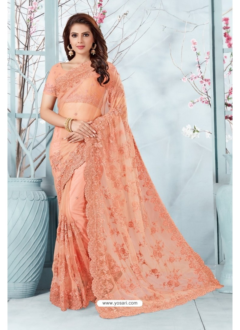 Peach Net Resham Embroidery Designer Saree