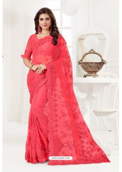 Crimson Net Resham Embroidery Designer Saree