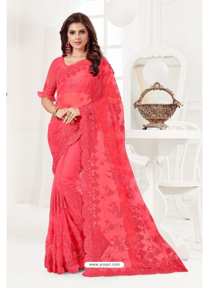 Crimson Net Resham Embroidery Designer Saree