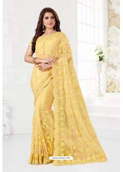 Yellow Net Resham Embroidery Designer Saree