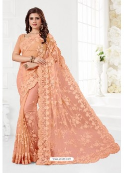 Light Orange Net Resham Embroidery Designer Saree