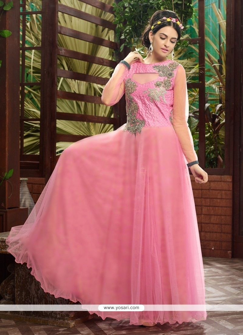 Light Pink Soft Net Designer Gown