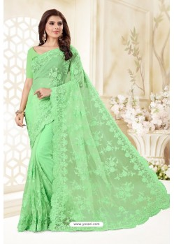 Sea Green Net Resham Embroidery Designer Saree