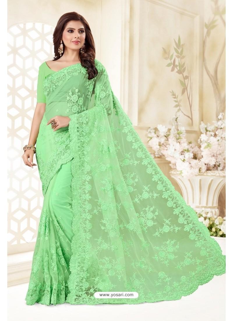 Sea Green Net Resham Embroidery Designer Saree