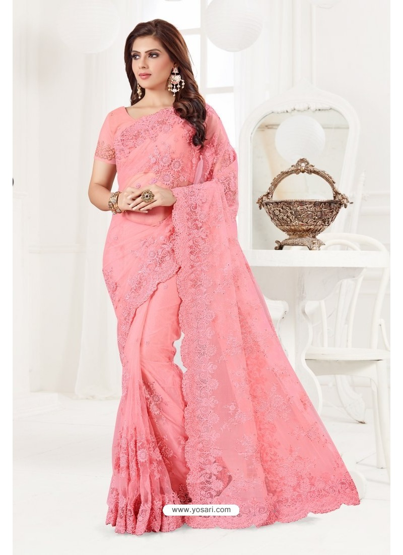Light Pink Net Resham Embroidery Designer Saree
