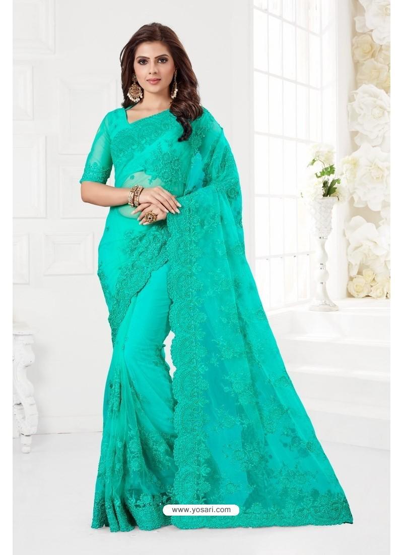 Aqua Mint Net Resham Embroidery Designer Saree