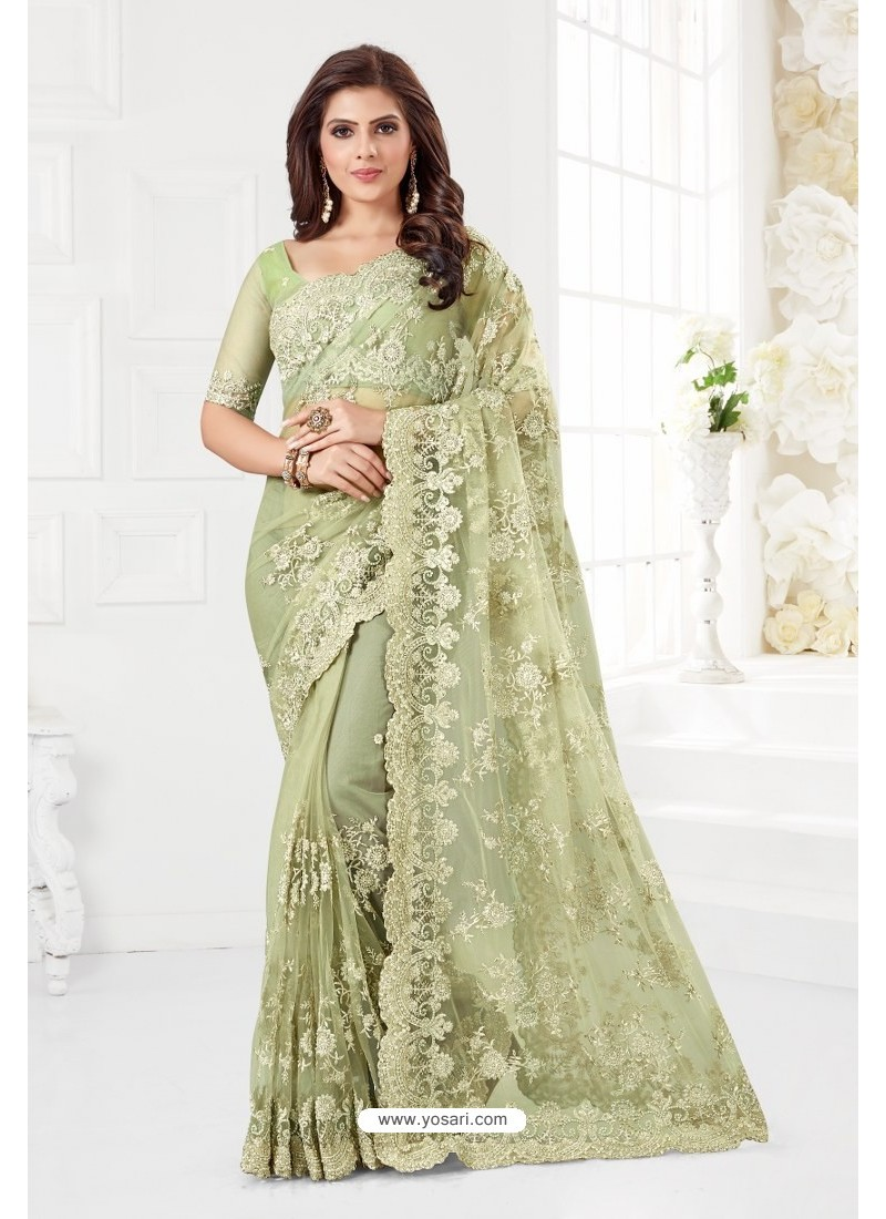 Olive Green Net Resham Embroidery Designer Saree