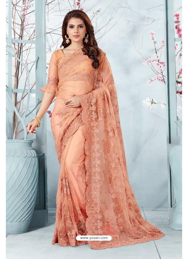 Light Orange Net Resham Embroidery Designer Saree