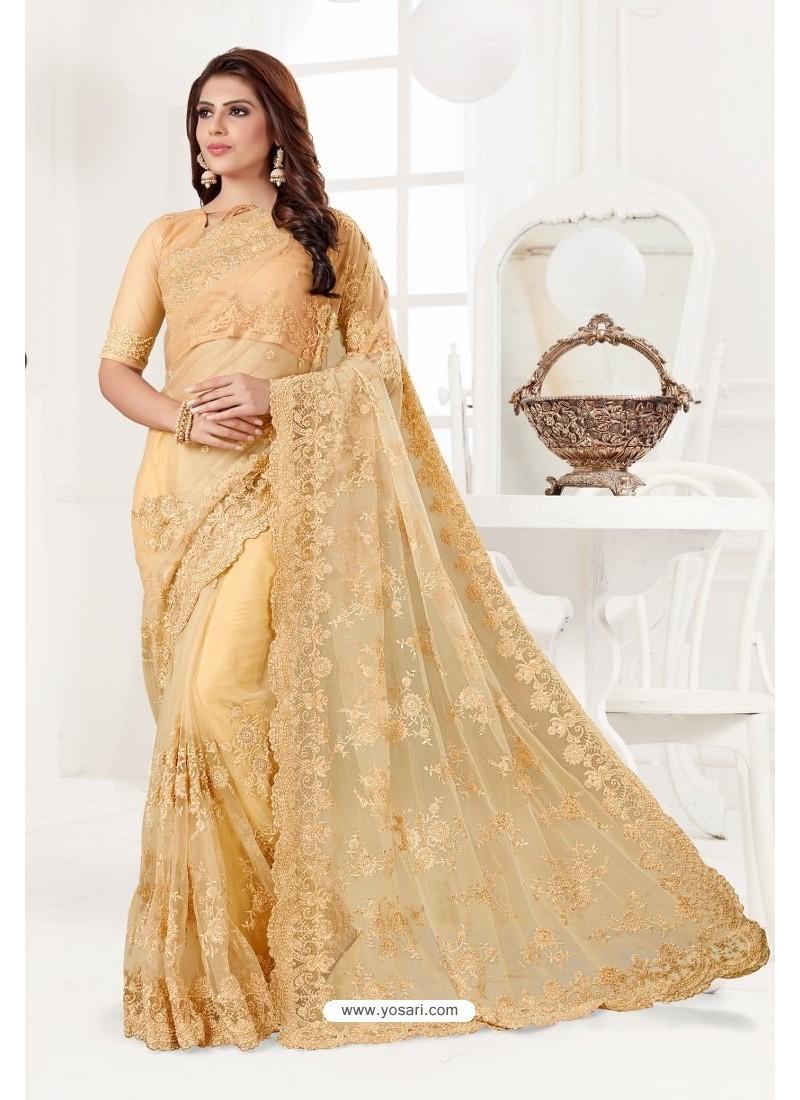 Yellow Net Resham Embroidery Designer Saree