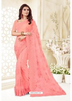 Pink Net Resham Embroidery Designer Saree