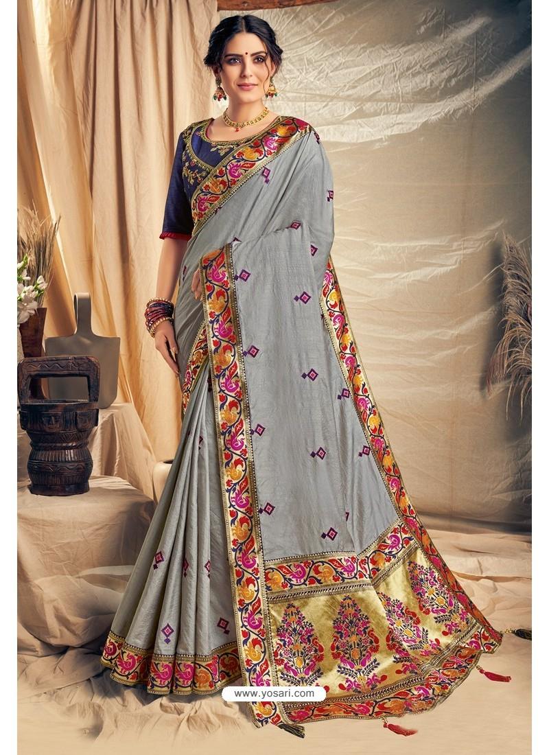 Grey Cotton Silk Embroidered Designer Saree