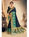 Navy Blue Satin Silk Embroidered Designer Saree