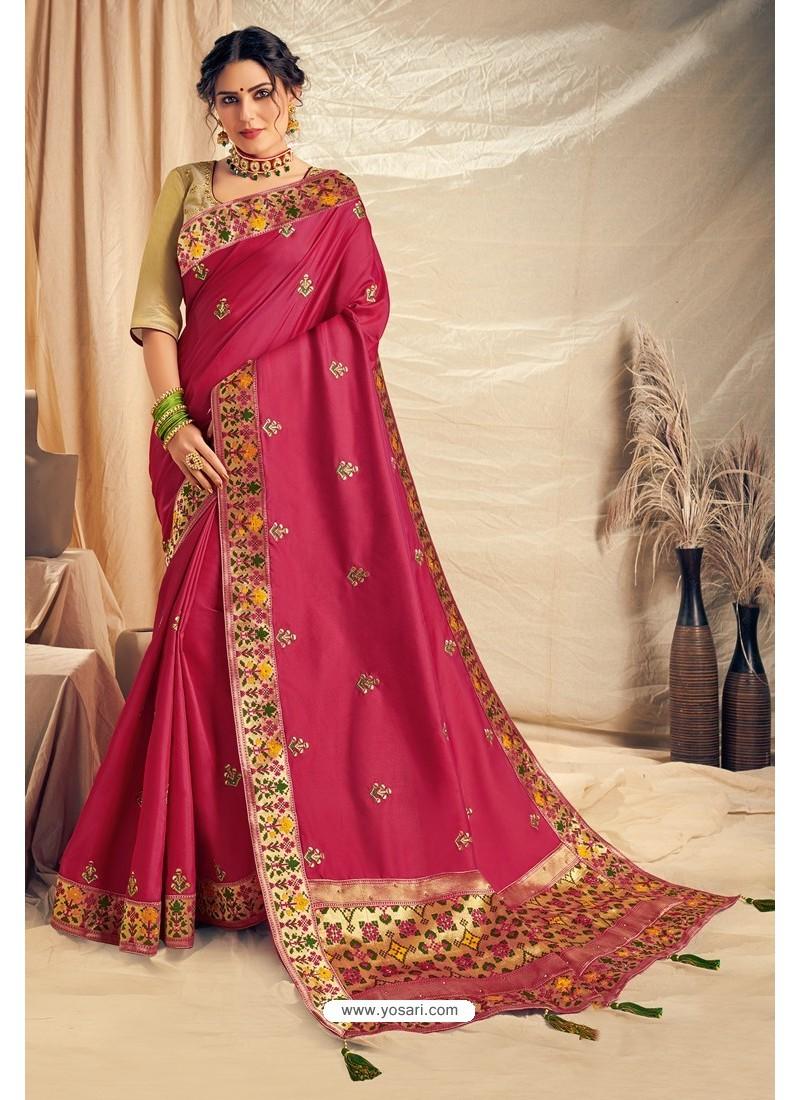 Rose Red Satin Silk Embroidered Designer Saree