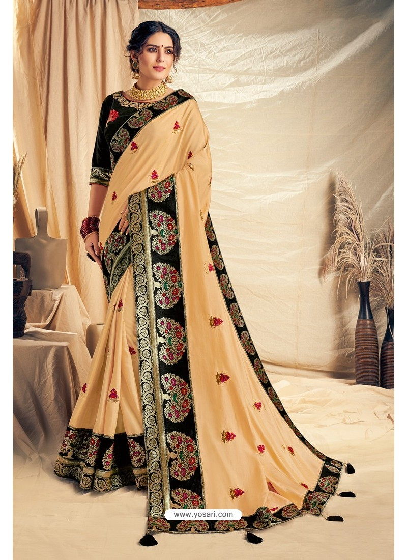 Cream Satin Silk Embroidered Designer Saree