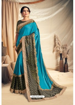 Blue Satin Silk Embroidered Designer Saree