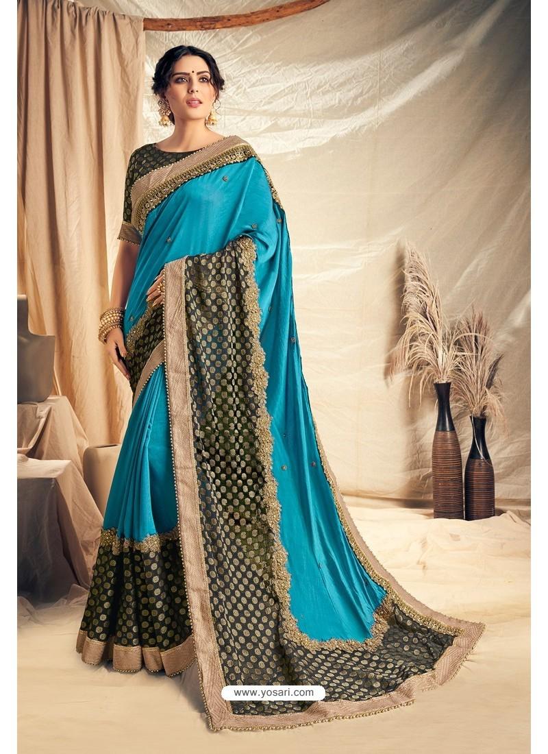 Blue Satin Silk Embroidered Designer Saree