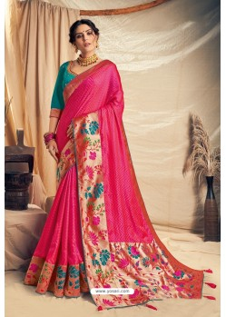 Fuchsia Jacquard Silk Embroidered Designer Saree