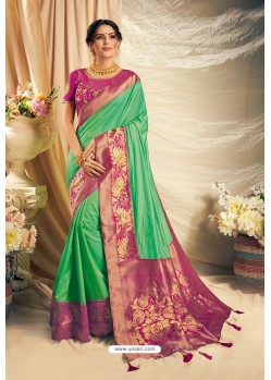 Jade Green Art Silk Embroidered Designer Saree