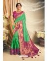 Jade Green Art Silk Embroidered Designer Saree