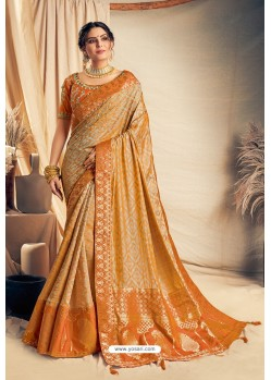 Mustard Jacquard Silk Embroidered Designer Saree