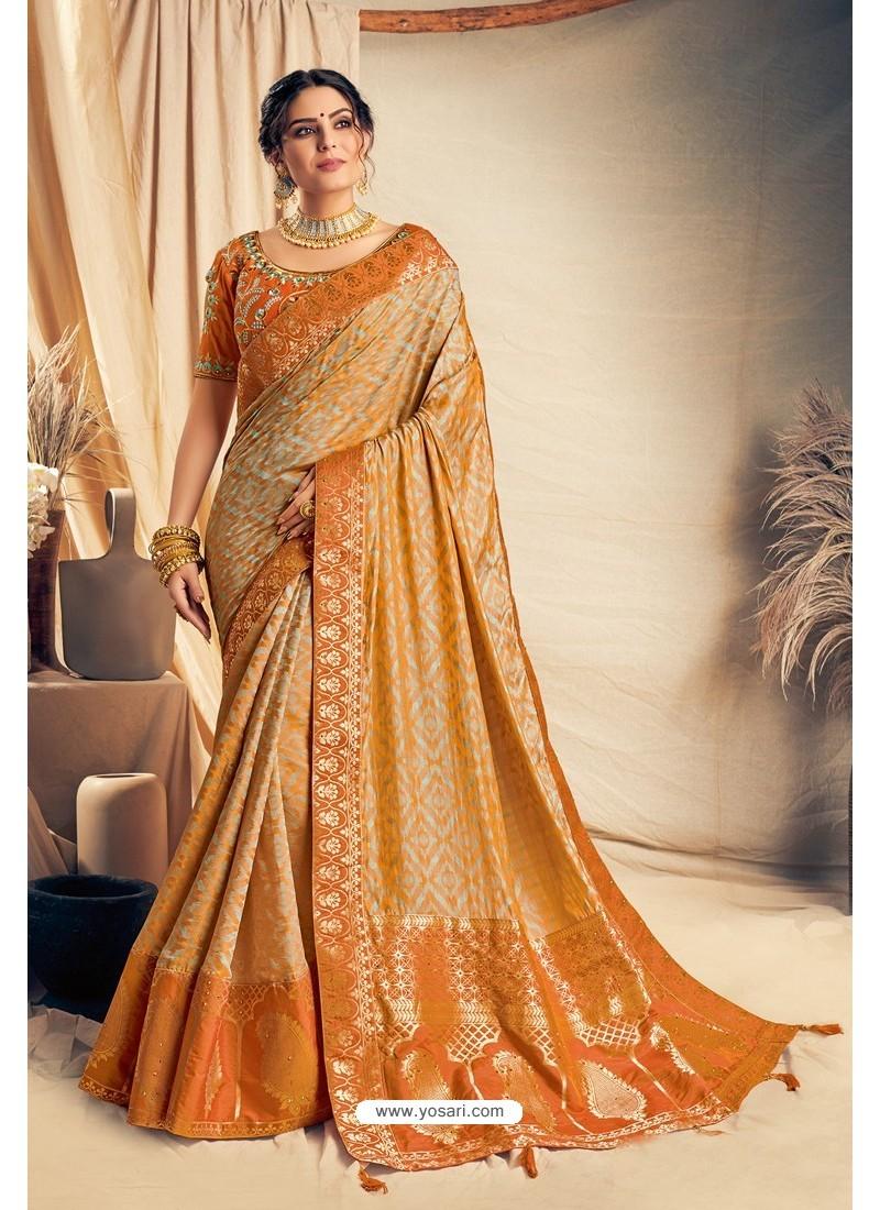 Mustard Jacquard Silk Embroidered Designer Saree