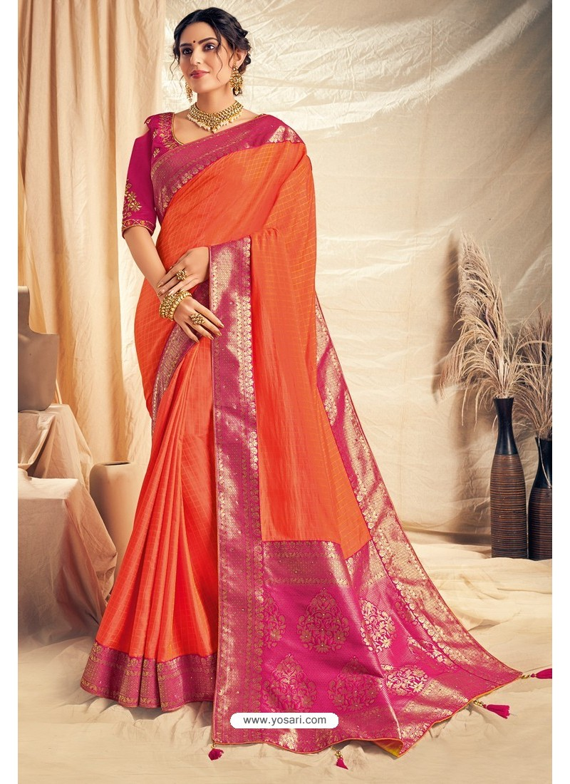 Orange Silk Georgette Embroidered Designer Saree