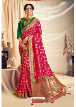 Rani And Red Silk Georgette Embroidered Designer Saree