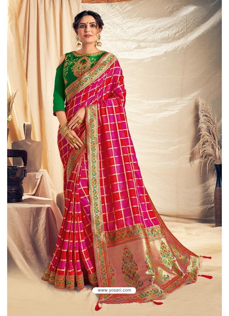 Rani And Red Silk Georgette Embroidered Designer Saree