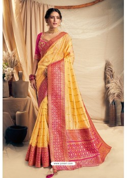Yellow Silk Georgette Embroidered Designer Saree