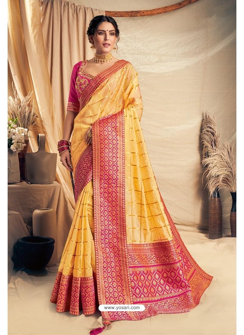 Yellow Silk Georgette Embroidered Designer Saree